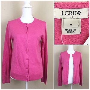J. Crew pink cotton button up cardigan sz Medium